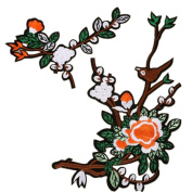 Ximkee Birds on Plum Branch Flowers Embroidered Appliques Sew or Iron on Patches