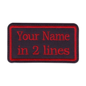 Rectangular 2 Line Custom Embroidered Name Tag Sew On Patch