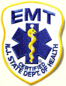 EMERGENCY MEDICAL TECHNICIAN EMT NJ STATE DEPT. OF HEALTH CERTIFIED Logo T shirt Jacket Uniform Patch Iron on Embroidered Sign Badge Costume