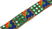 Maroon base Embroidered Trim-Price for 01 Yard-KB109