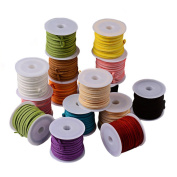 Beadthoven 1Bag Faux Suede Cord, Mixed Colour by random, 3x1.5mm; about 5m/roll, 25rolls/bag