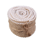 Dimart Hessian Lace Ribbon with Faux Pearl Beaded Decoration for Wedding Festival Event Natural Burlap