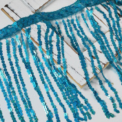 30cm Blue Hologram Sequin Fringe Trims for clothing, costumes, Home Deco, Lamp Shade, 6 colours, 1 yard, TR-10369