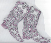 Cowboy Boot Rhinestone Hotfix Heat Transfer Pink and Clear Cowgirl