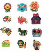 Kid Iron On Patch- Set of 12 Tiny Embroidered Iron On-Sew On Patches , DIY Applique including Worm, Lion, Bird House, Cake, Flower, Smiling Sky, Rocking Horse Iron On Patches