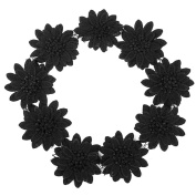 Shevalues 2 Yards Black Lotus Embroidery Flower Venise Lace Fabric Sewing Applique Stamp Crafts