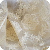 Lace Fabric Organza White/Beige Flower Embroidery Wedding Fabric 130cm width by yard