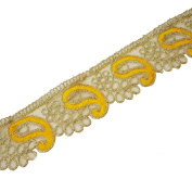 Indian Embroidered Gold Cut Work Trim Saree Border Ribbon Costume Fabric Lace 5.6cm Wide By 1 Yard