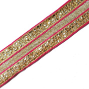 Pink 5.7cm Wide Ribbon Decorative Trim Ribbon Indian Embroidered Trim By 1
