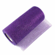 Organza, Purple/ with iridescent glitter 15cm X 25 Yds. One Roll