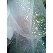 Organza, Ivory with iridescent Large Sparkles 15cm X 25 Yds. One Roll