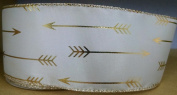 White/Gold Arrow Satin Ribbon 6.4cm Wide - 6 Yards
