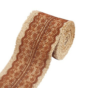 Shopline Natural Burlap Craft Ribbon Roll with White Lace for Craft Wedding Belt Strap