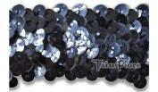 TRIMPLACE GUNMETAL 3.2cm STRETCH SEQUIN 10 Yards