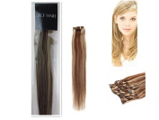 46cm 100% Real Human Hair 7Pcs Clip In Human Hair Extensions Straight Hair Colour 4/613 Medium Brown With Light Blonde 70g Beauty Design Salon
