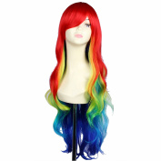 Snowsun-Harajuku 80cm Long Curly Rainbow Colour Fashion Women Wig Party Cosplay Full Wig