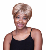 A.Monamour Celebrity Women's Hair Style Golden Brown Solid Colour Short Straight Natural Looking Hair Full Wig With Bangs