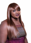 A.Monamour Ladies Long Natural Straight Shiny Brown Coffee Colour Synthetic Hair Full Wig With Bangs