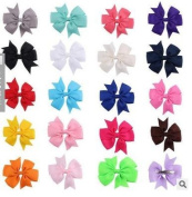 Abeillo 8.9cm Grosgrain Ribbon bowknot headband Solid Pinwheel Boutique Hair Bows Alligator Clips for Baby Girls Kids Teens Toddlers Children 20 colours bowknot