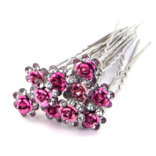 Kingko® Wedding Prom Silver Crystal Diamante Rose Flower Hair Pins Clip Accessories