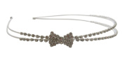 Pick A Gem Silver Diamante Crystal Little Bow Double Headband for Girl Confirmation Christening Wedding Flower Girl