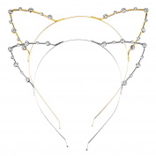 Mudder Crystal Rhinestone Metal Cat Ear Headband Hair Bands, 2 Pieces, Gold and Silver