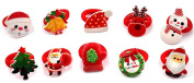 Cuhair(tm) 10pcs new year christmas Children Elastic ribbon bow Hair Bands tie rubber Rope Ponytail Holder Kids fabric flowers Baby Girls toddler teens Hair Accessories Scrunchie