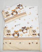 2 Piece Duvet Pillow Set For Crib, Cradle, Pram, Filling Baby Bedding Set - TRAIN ECRU