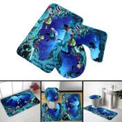 Yongse 3pcs Blue Ocean Bath Rugs Set Velvet Fabric Pedestal Mat Toilet Set Cover Carpet