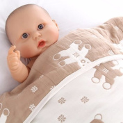 bebobio Teddy Cotton Muslin Baby Blanket - One Size