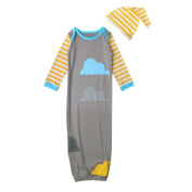 YOUJIA Baby Gown and Hat Set, Soft Sleeping Bag, Wearable Blanket (For Age 1-3), Grey
