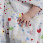 Piccalilly Organic Cotton Multicoloured Unisex Dinosaur Footprint Muslin Swaddle