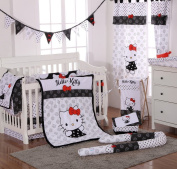 Hello Kitty Black 4 Piece Crib Bedding Set
