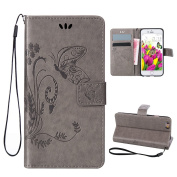 iPhone 5 5S Case,iPhone SE Cover 10cm ,Rosa Schleife® PU Leather Butterfly Pattern Embossed Magnetic Flip Wallet Cover with Hand Strap & Card Slots & Stand Function Protective Cases Covers for Apple iPhone 5/5S/SE