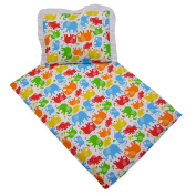 Rawstyle Cover for Cot and Pram Blanket - Bedding Set Duvet + Pillow Set of 2 Elephants with White Filling