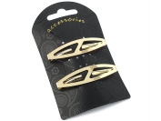 Pair of Oval Shaped Clip-in End Barrettes, Hair Slides with Cut-Out Design.