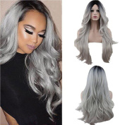 Eseewigs Synthetic Long Wave Heat Resistant Middle Part Curly Wig Black Rooted Ombre Silver Grey 130% Density for Women With Bangs