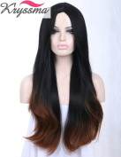 K'ryssma® Natural Looking Soft Synthetic Hair Black Ombre Brown Wigs for Women Middle Part Natural Straight Wig Cheap 60cm