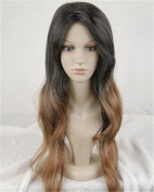 Cool2day®charming Long Straight Ombre Black Mixed Brown Women'long Wigjf1982