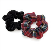 Two Piece Red Tartan Print And Black Velvet Look Elasticated Hair Scrunchie Set by Amber Jewelery