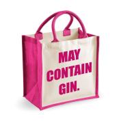 Medium Jute Bag May Contain Gin Pink Bag Mothers Day New Mum Birthday Christmas Present