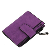 Kolylong Women Mini Grind Magic Bifold Leather Wallet Card Holder Purse