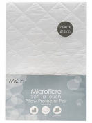 M & Co Home Soft Touch Machine Washable Quilted Hollowfibre Pillow Protectors White One Size