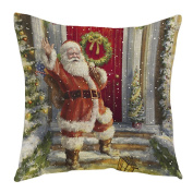 Bluester Vintage Christmas Santa Claus Printing Dyeing Sofa Bed Home Decoration Festival Pillow Case Cushion Cover