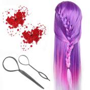 Neverland Beauty 70cm Dreamy Purple Colourful Hair Training Head Model Hairdressing Dummy Practise Mannequin + 2Pcs Topsy Tail Hair Braid + 2Pcs Hair Barrettes