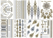 Premium Temporary Metallic Tattoos - Gold, Silver and Multi-Coloured By BG247 (Style 1 - 8 Sheets) by BG247