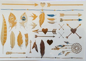 Metallic Gold Temporary Tattoos Feathers and Arrows by Whirled Planet