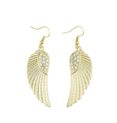 Hosaire 1 Pair Fashion Elegant Women Girls Jewellery Angel's Wings Earrings Stud Clip For Holiday Gifts