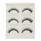 BEAUTYLIFE® Pack of 3 Pairs Black 3D Handmade Natural Long False Eyelashes Eye Lashes Makeup