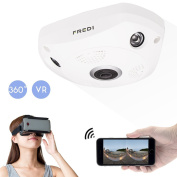 FREDI Wifi 360-Degree HD Network Surveillance Camera 960P HD IP Security Camera with 360 Degrees Panoramic Range